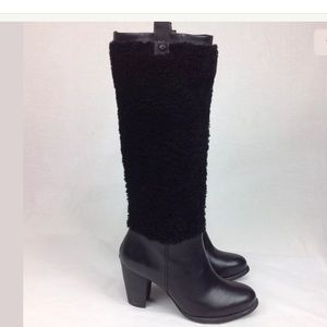 UGG AVA EXPOSED FUR SUEDE HIGH HEEL BOOTS  NEW